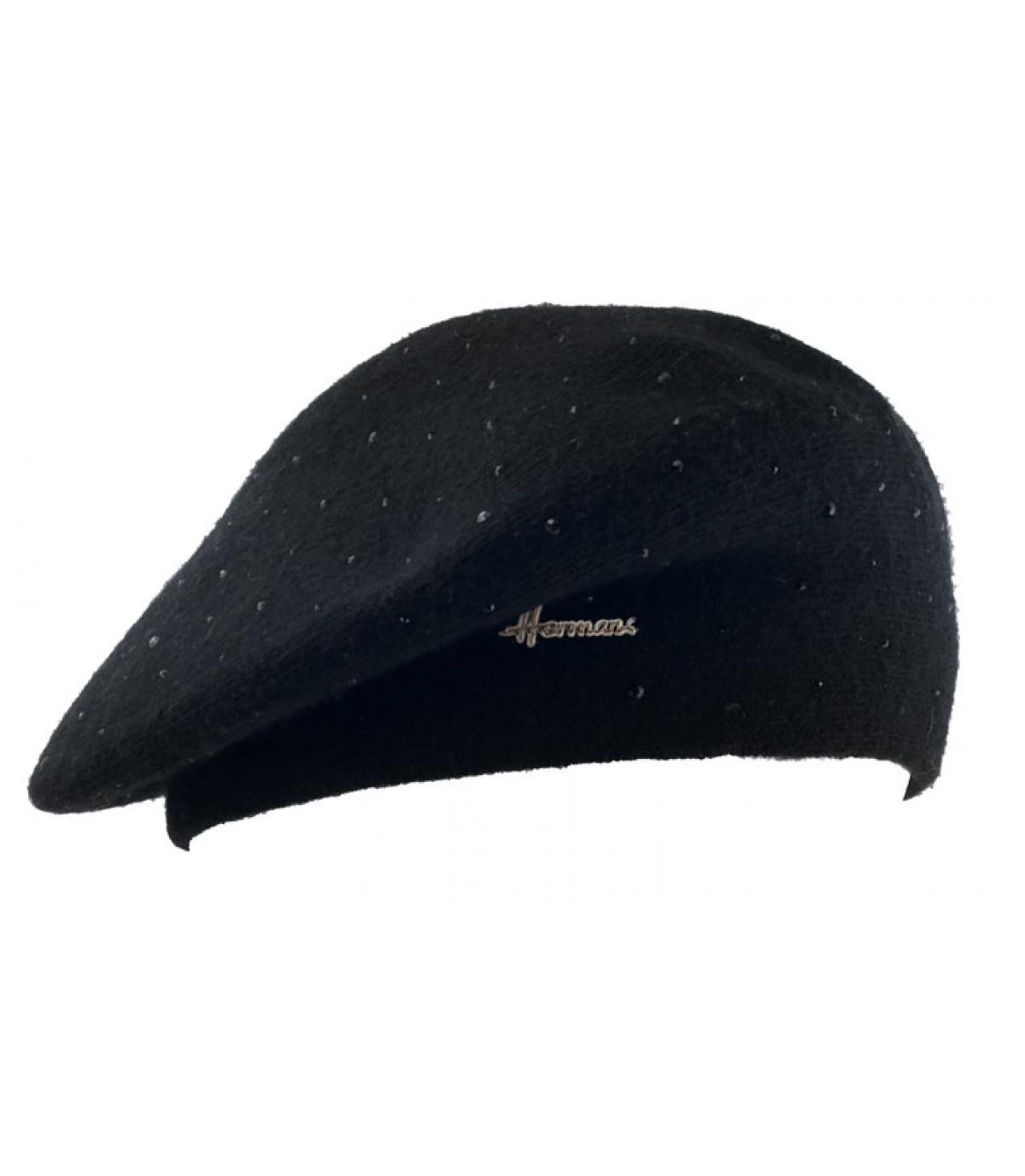 Baskenmütze Strass schwarz