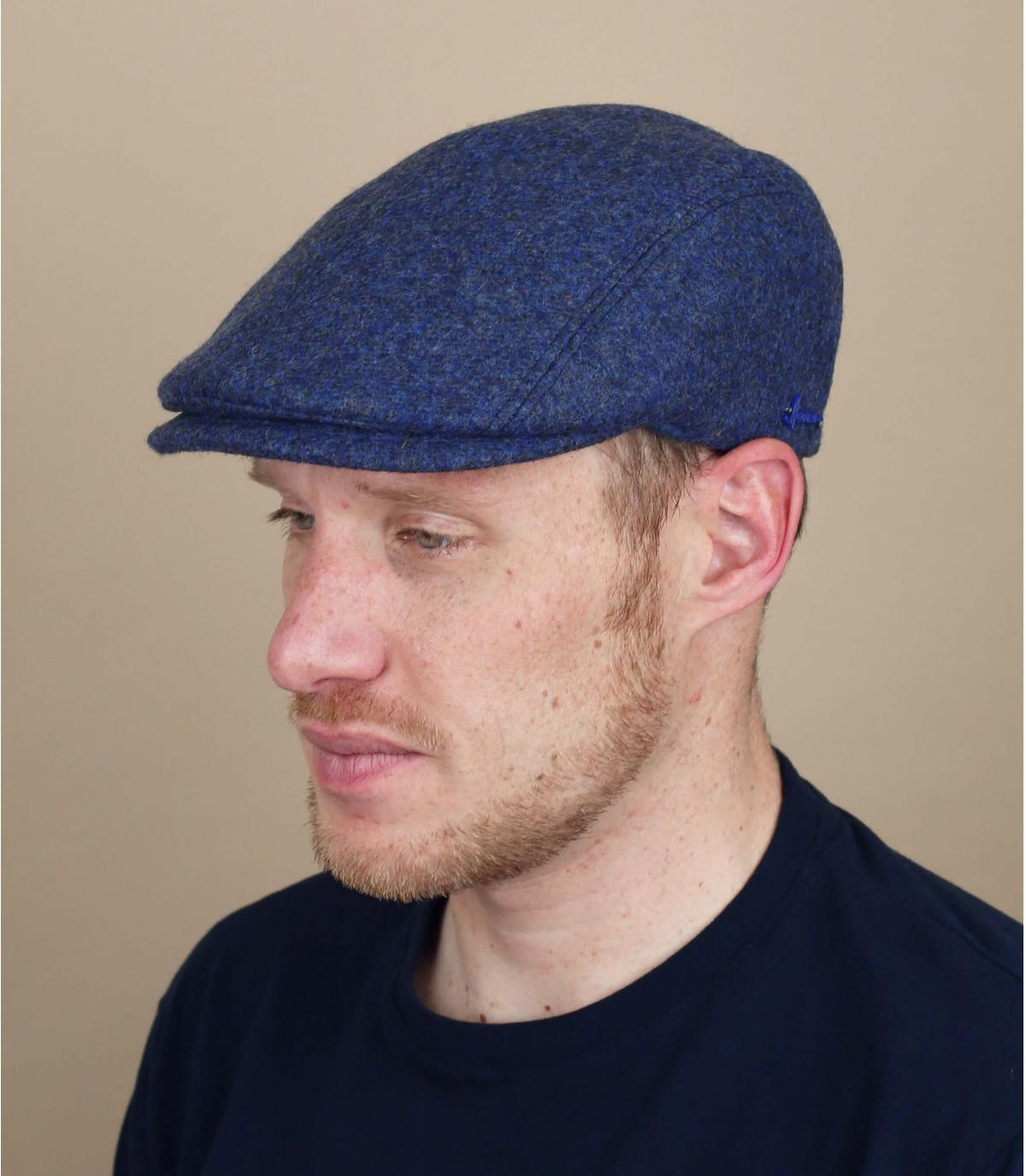 Barett blau Wolle Ohrenschützer