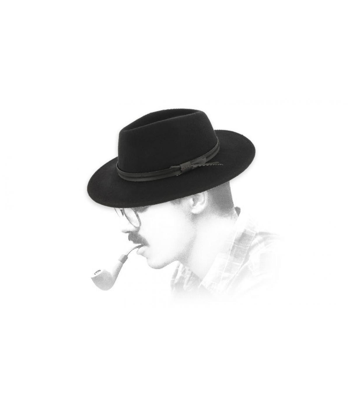 Fedora schwarz Wolle Herman