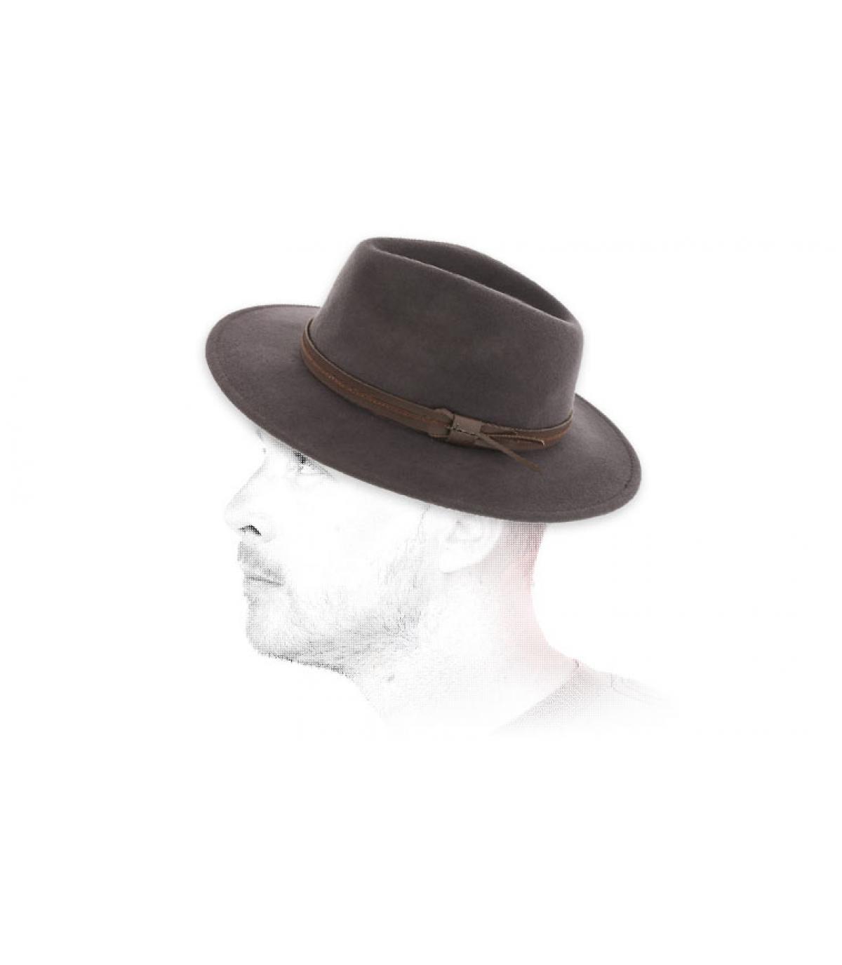 Fedora grau Wolle Herman