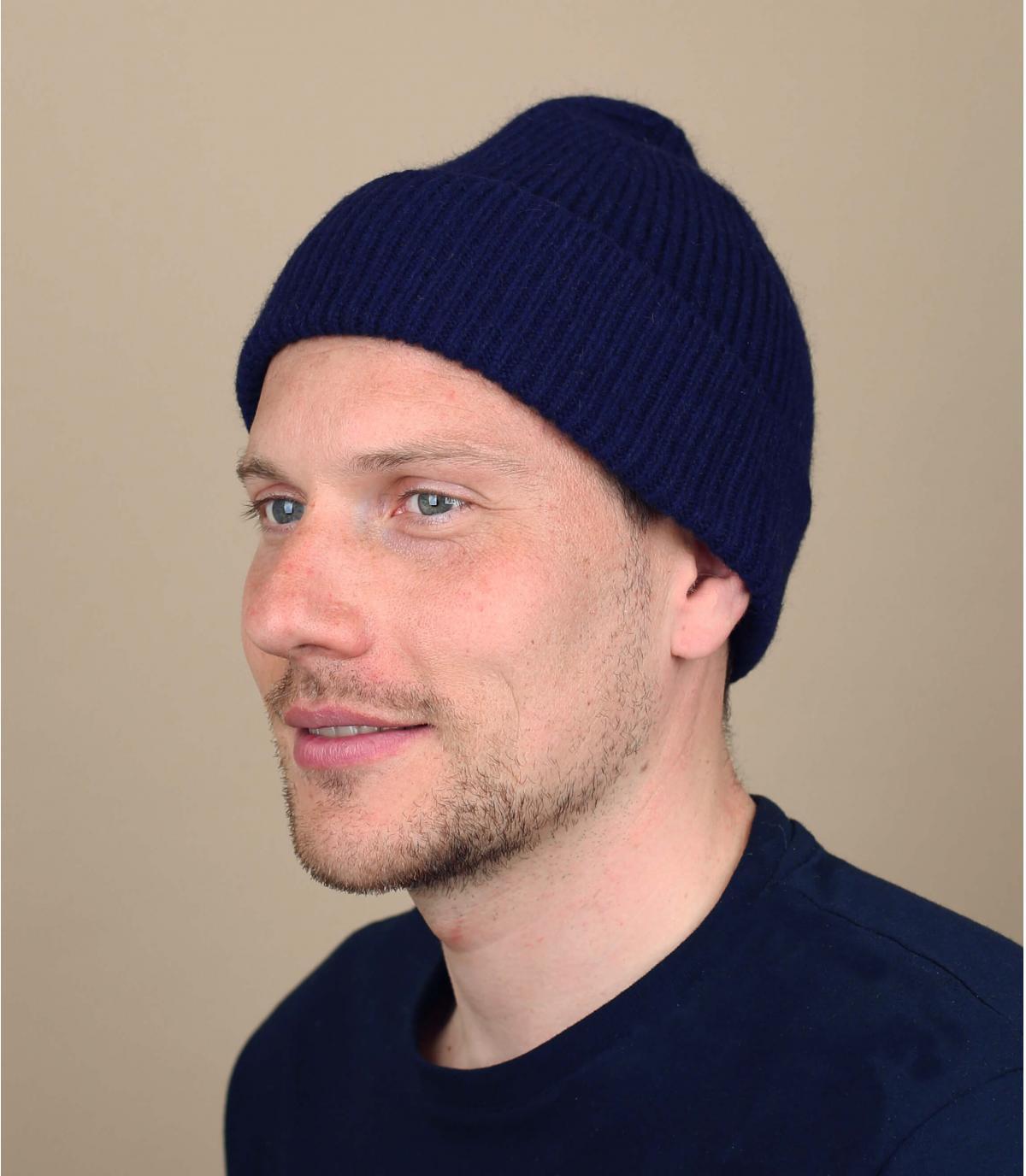 Mütze Revers marineblau Angora
