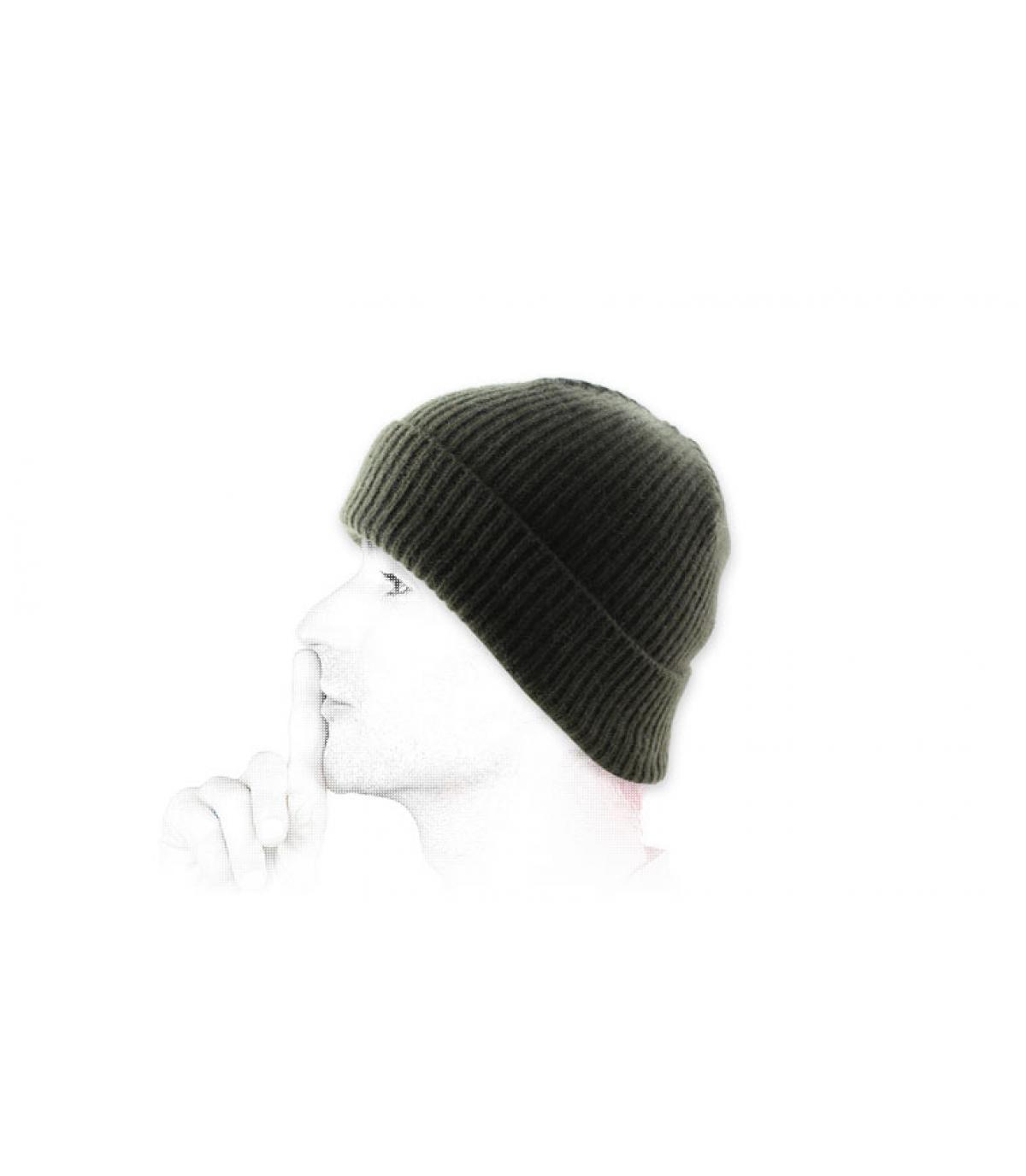 Mütze Revers Wolle grün