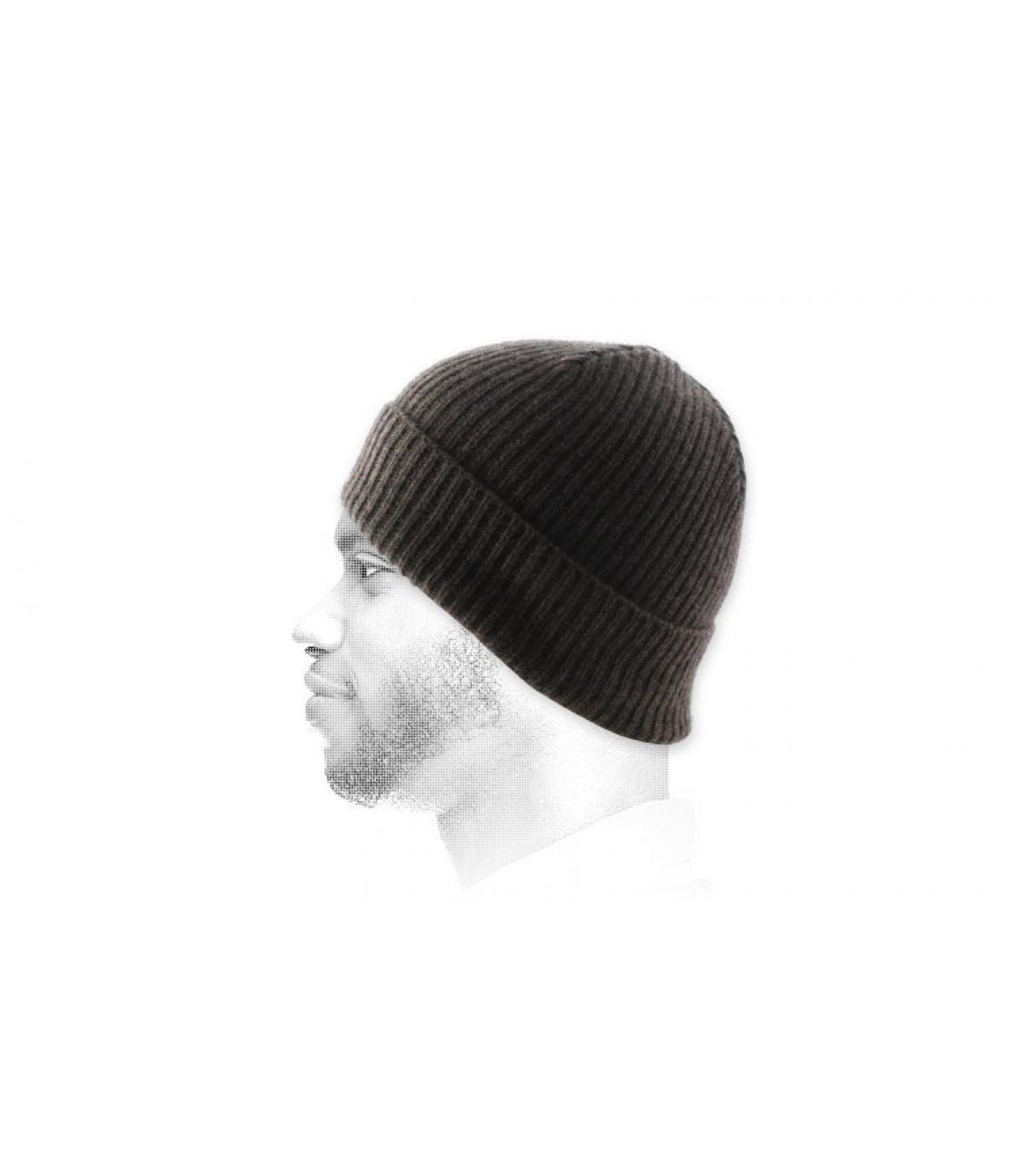 Braune Mütze Revers Wolle Angora