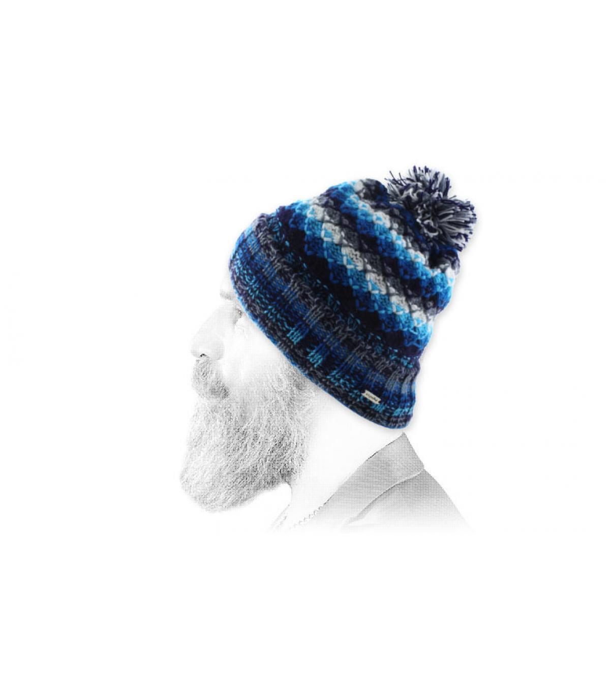 Bommelmütze blau weiß