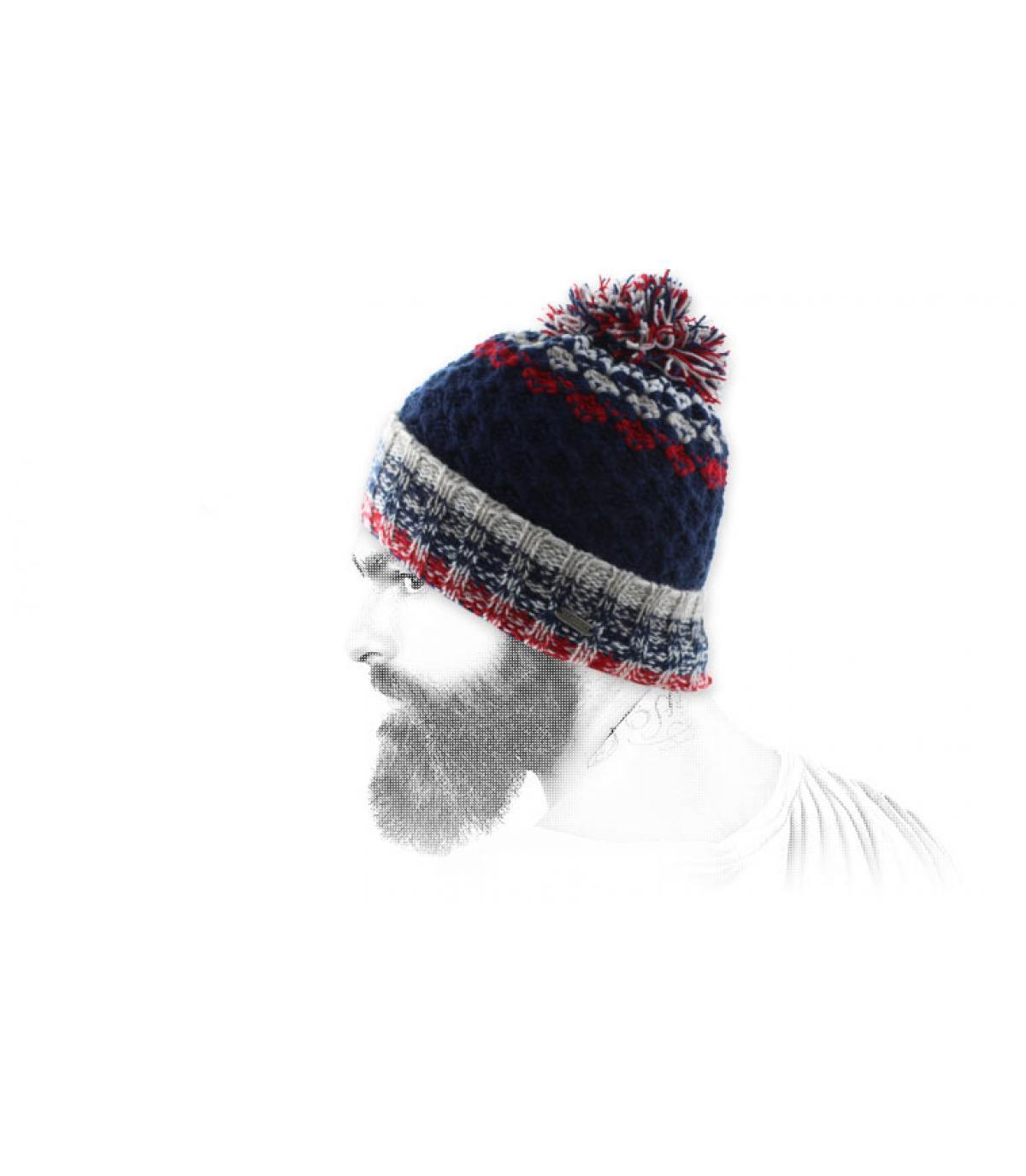 Retro Mütze Bommel blau rot