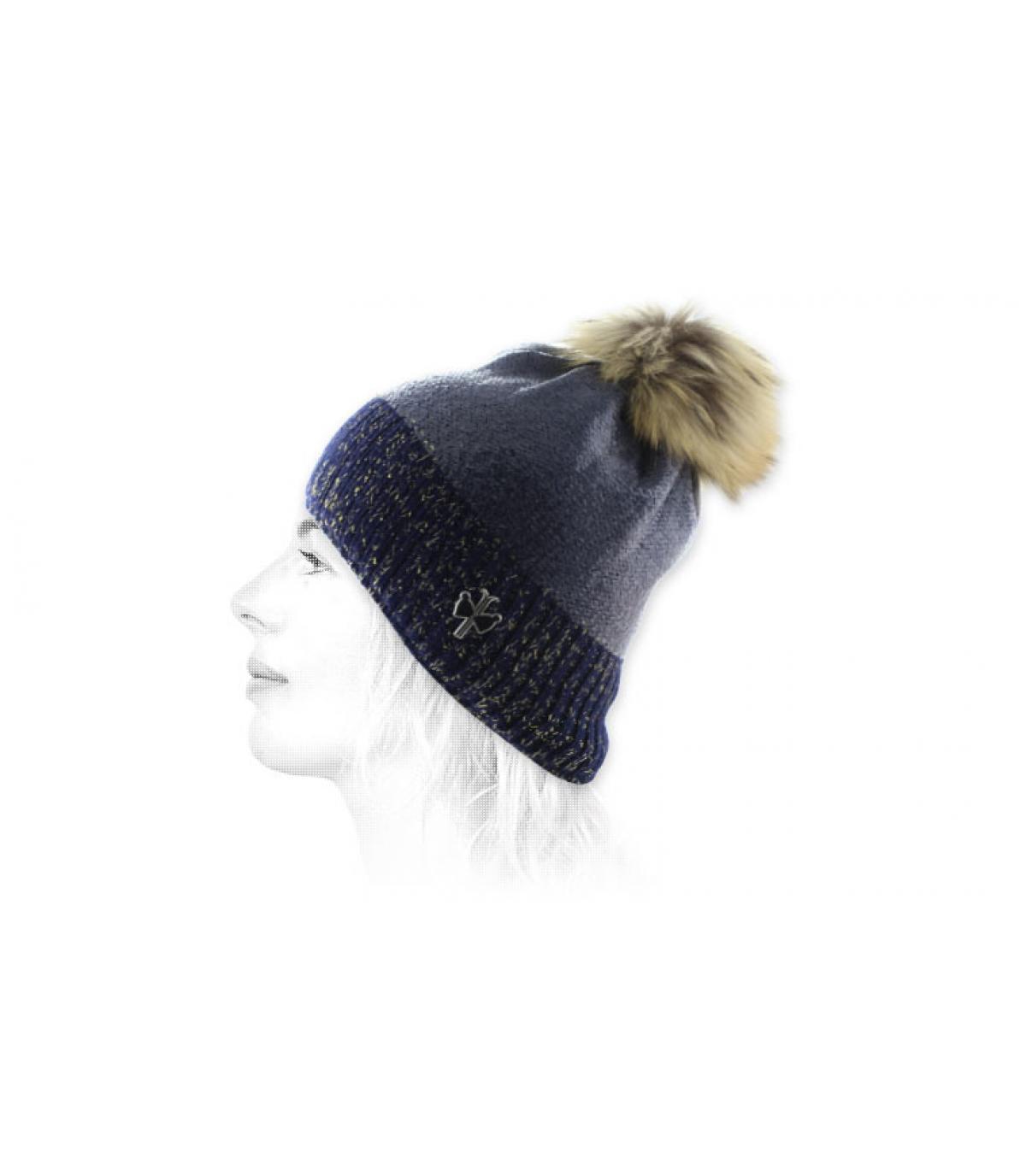 Bommel Mütze Fell blau