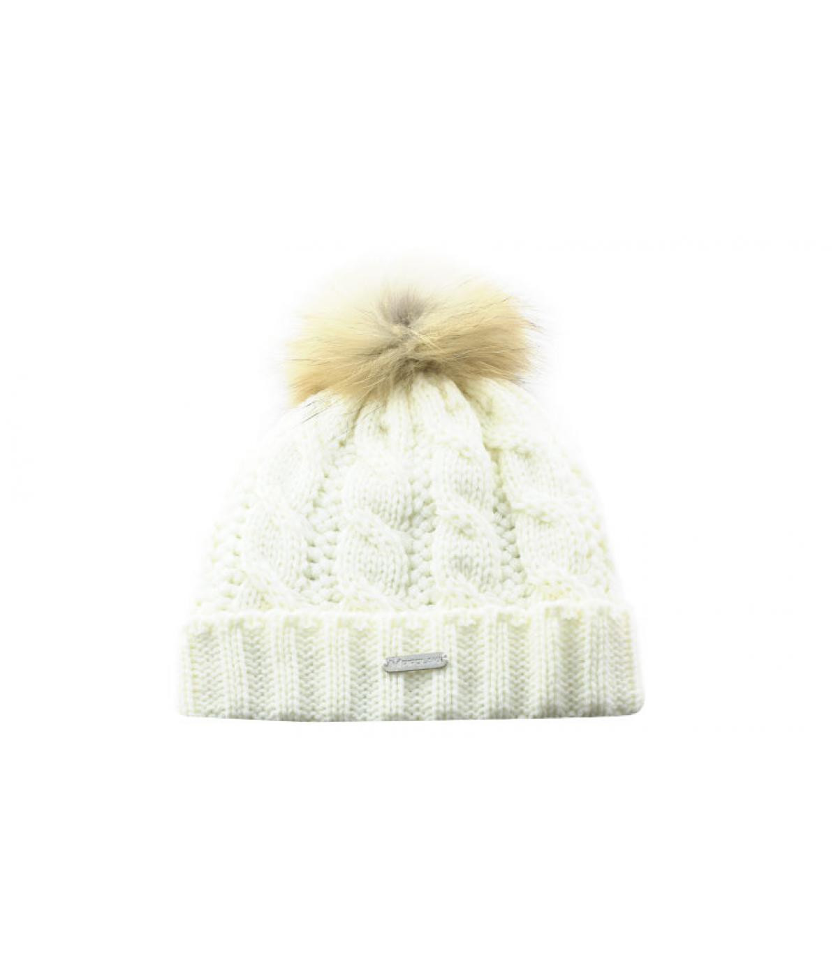 Weiße Mütze Zopfmuster Bommel