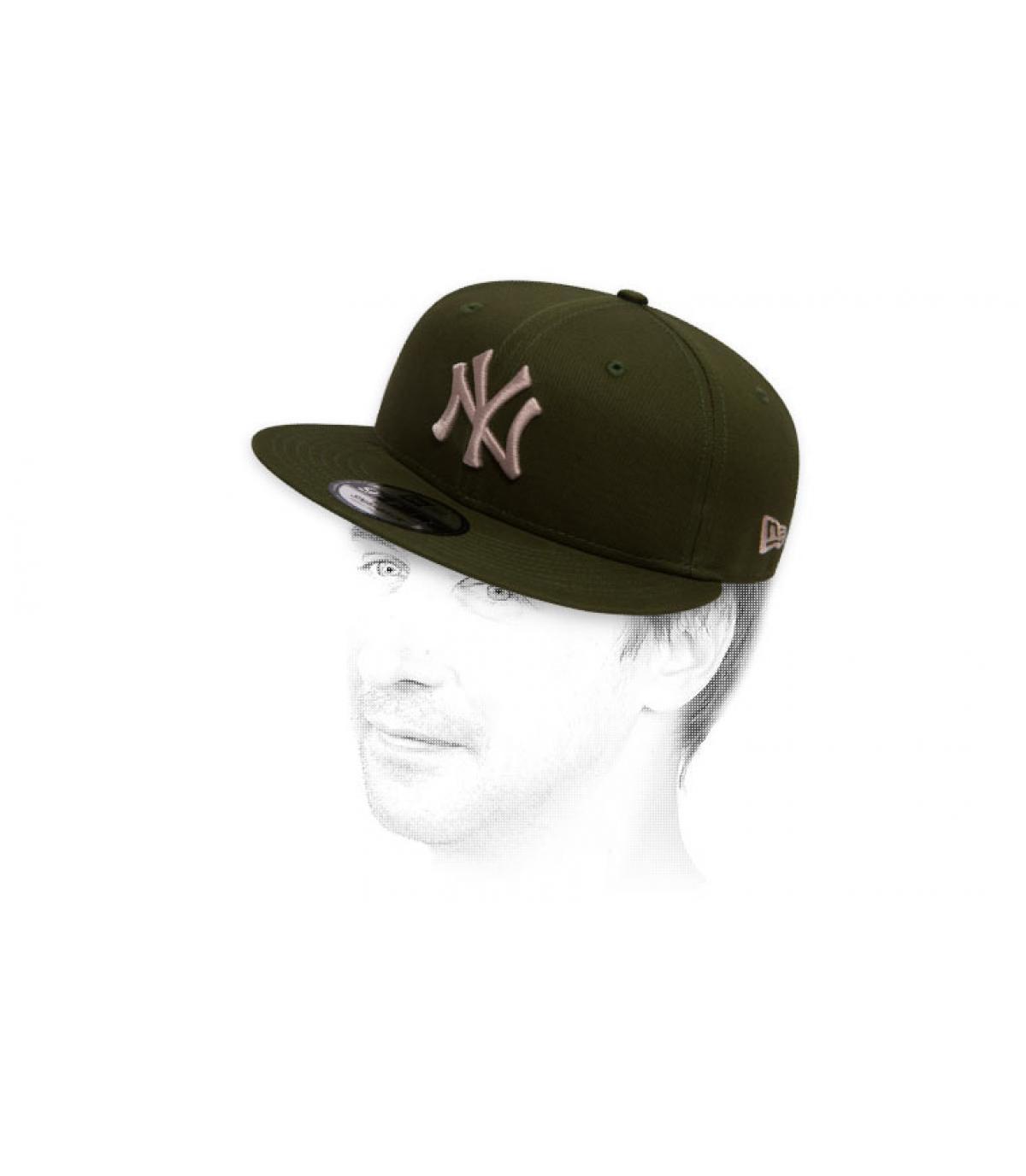 Snapback NY grün grau