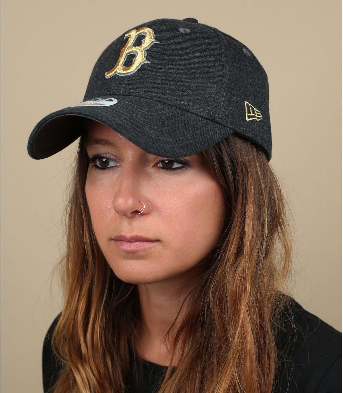 Damen Cap B grau gold