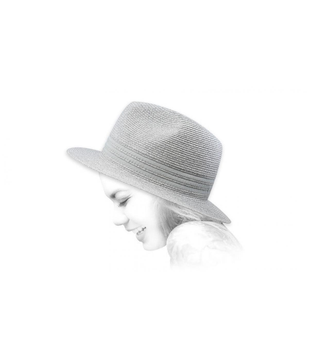 Fedora Strohhut grau